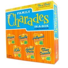 Family Charades Compendium: Six great charades games, all in one box! No more spending time thinking up good charades - the fun starts as soon as the box is opened. From Picture Charades to Time Capsule Charades , this game is guaranteed fun for the whole family! UPC: 625012111669