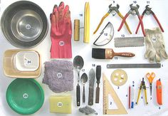 the mosaicists toolbox. Tools used in mosaic work