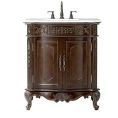 Home Decorators Collection Winslow 33 in. Vanity in Antique Cherry with Marble Vanity Top in White-1590800130 at The Home Depot