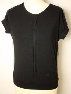 MICHIKO KOSHINO LADIES BLACK T-SHIRT with LACE DETAIL-UK 6/8-USED-VERY CHIC