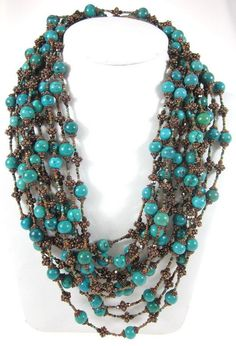 NEW SUSAN GREEN Bronze Floral Beaded Turquoise Multi Strand Long Necklace