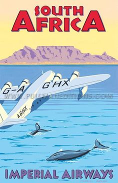 Vintage Aeroplanes South Africa, Table Mountain - Imperial Airways' by Charles Avalon - Vintage travel posters - Art Deco - Pullman Editions Old Poster, Poster Art, Retro Poster, Art Deco Posters, Vintage Travel Posters, Vintage Ads, Retro Airline, Vintage Airline, Travel Ads