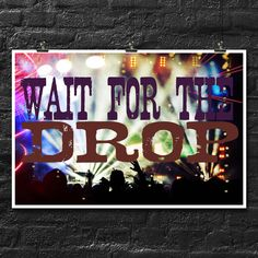 Wait For The Drop | EDM | 18x12 Inch Poster | Drop The Bass | Concert Tour by CastlePeakGraphics on Etsy