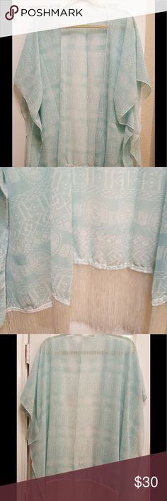 """Chiffon Blue Kimono W/Tassels! 💐 Absolutely Beautiful Chiffon Kimono. Soft Blue Print with White Tassels. Measures 35"""" Long. Standard armholes. Lovely Material. Accessories Scarves & Wraps"""