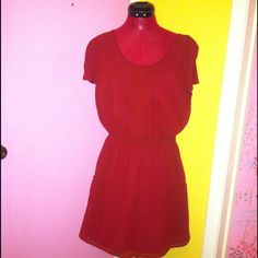 Red short sleeved cinched waist flare dress Deep burgundy red color. Semi cinched waist to show off a lovely silhouette. Pockets. Open slit in back as shown. Above the knee length. Like new condition. Urban outfitters brand Pins & Needles. Urban Outfitters Dresses