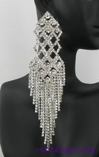 $33  Long Clear Crystal Dangle Chain Drag Queen Pageant Prom Bridal Sexy Earrings