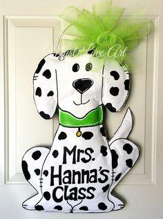 Dog Burlap Door Hanger Decoration Teacher by MustLoveArtStudio, $40.00