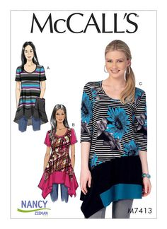 McCall's Misses'/Women's Knit Tops with Asymmetrical Hemlines 7413
