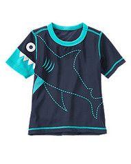 Shark Rash Guard at Gymboree Cute Outfits For Kids, Toddler Outfits, Boy Outfits, T Shirt Body, Sharks For Kids, Kids Nightwear, Kids Pjs, Boys Swimwear, Kids Fashion Boy