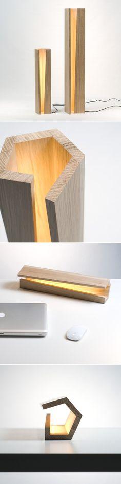 Elomax design wooden lamp Elagone, white oak.