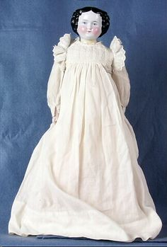 China doll, woman, white nightgown, Germany, 1855-1870
