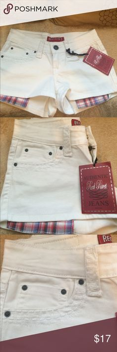 NWT, Authentic Red Rivet white denim shorts, w/ple NWT, Authentic Red Rivet white denim shorts, w/plenty of style & design. Plaid pocket hanging out, a lot if detailed trim on & around pockets. RED RIVET Shorts Jean Shorts