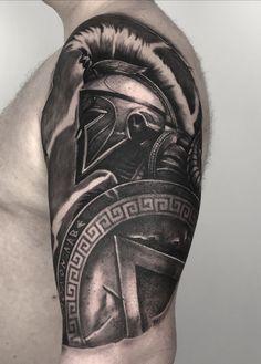 Tribal Arm Tattoos, Best Sleeve Tattoos, Tattoo Sleeve Designs, Skull Tattoos, Leg Tattoos, Tattoos For Guys, Warrior Tattoo Sleeve, Warrior Tattoos, Inkbox Tattoo
