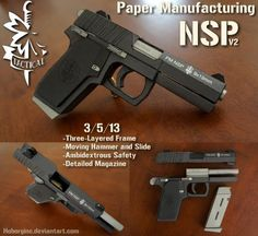 Pistol PM NSP V2 Black Version Paper Model - by Hoborginc    A very well done replica of a pistol, created by North American designer Hoborginc and originally posted at DeviantArt website. Detailed assembly instructions with photos included.