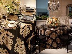 Damask Pattern Black and Gold Table Linen; Great for Weddings
