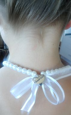 Flower Girl  Pearl bead ribbon and charm by littleittybitty, $15.00
