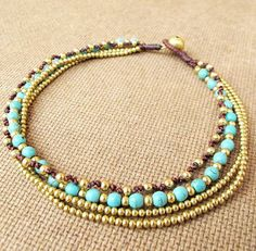 Multi Line Turquoise Brass Bead  Beaded Ankle Bracelet