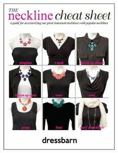 Dress Barn Cheat Sheet for necklines and accessories
