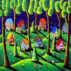 Catching Fireflies Fun Kids Whimsical by reniebritenbucher on Etsy