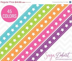 80% OFF Sale Clipart Stars Ribbon Borders 45 Colors Vector EPS Included Commercial Use Instant Download  #clipart #design #graphics