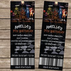 Five Nights at Freddy's Ticket Invitation Five by Invitationcard