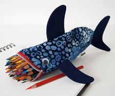 Pencil Case for Kids Shark Bag Boys Gift: Deep Sea Blue