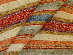 Railroaded Stripe Rag Rug Multicolor 1  rustic looking interior decorating fabric in multiple colors, this is a second - has slight line running up the roll  cotton  original retail at least $40.00  SPECIAL BUY SALE PRICED  discounted below original wholesale  priced per yard, limited quantity  #decoratorfabric #railroaded #ragrug #stipedfabric
