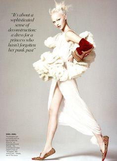 notordinaryfashion:  Sasha Pivovarova - Vogue - Wearing Alexander McQueen One of my Favs