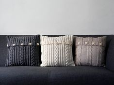 Knitted pillow covers traditional pillows