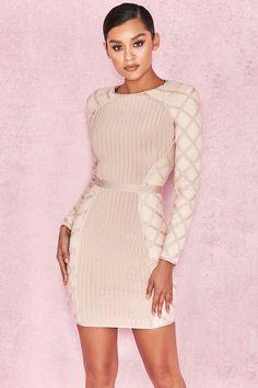 Clothing : Bandage Dresses : 'Yasina' Champagne Sequin and Bandage Dress