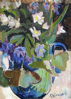 Isaac Grünewald, Still-life with blue and white wood-anemones