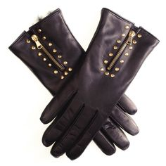 #Ladies Black #Rabbit #Lined #Leather #Gloves with Gold Zip and Studs