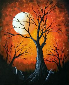 Graffiti Paintbar - Uncork Your Inner Artist! Halloween Canvas Paintings, Halloween Painting, Easy Paintings, Halloween Art, Autumn Painting, Autumn Art, Tree Art, Painting Inspiration, Painting & Drawing