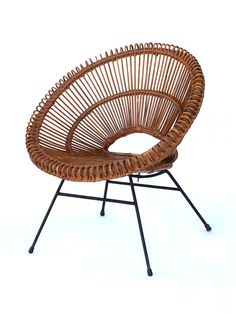 Vintage mid century bamboo rattan wrought iron hoop chairs for Brommo chaise lounge