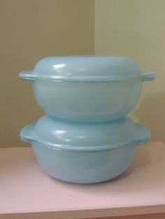 2 rare baby blue Pyrex casserole dishes with lids by ModernDayVera, £19.95