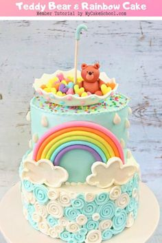 This Teddy Bear and Rainbow Cake is so CUTE for baby shower cake designs! From My Cake School's Member Cake Video Tutorial Section! Baby Shower Cake Designs, Baby Shower Cake Decorations, Baby Shower Desserts, Baby Shower Cupcakes, Shower Cakes, Cakes For Baby Showers, Girl Shower Cake, Fondant Cupcakes, Fondant Girl