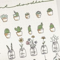 "417 Likes, 12 Comments - august rose • bullet journal (@augustrose.doodles) on Instagram: ""A little close up of some succulent, cactus and mason jar doodles... __________ #bulletjournal…"""