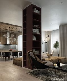 Library column in a great room in an apartment in Minsk, Ukraine designed by Nikita Ryazho