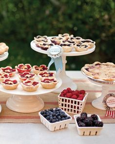Berries and fresh cream were the perfect touch to Lilly and Charlie's pie bar—especially since the name of their wedding location was Blueberry Hill.
