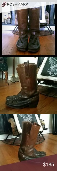 Vintage FRYE Cavalry Brass Color Boots Size no longer visible inside boot. Molded for your dogs and ready to be loved. Handcrafted since 1863. Made in USA. 2 inch stacked heel..yeah! Get tall! Mid-height boot. Timeless design. Definitive O rings. FRYE has been worn by soldiers on both sides during American Civil War. Frye Shoes