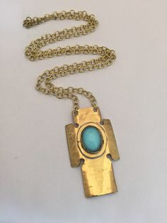 """Rafael Canada Brass """"Small Cross"""" Blue Glass Stone Pendant UNUSED & SIGNED Metal Jewelry, Vintage Jewelry, Handcrafted Jewelry, Handmade, Necklaces, Bracelets, Stone Pendants, My Father, Jewelry Crafts"""