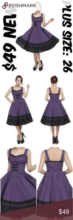 """Plus Size Pin Up Clothing Dress Vintage 1950s Girl Pin Up Dress ▶NEW WITHOUT TAGS ▶SIDE ZIPPER ▶MATERIAL: 97% COTTON AND 3% SPANDEX ▶BUST: 54"""" ▶WAIST: 46"""" ▶LENGTH: 44"""" ▶TAG SIZE IS 26 ▶#C16 Dresses"""
