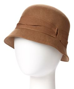 Look at this Downtown Style Camel Pleated-Band Wool Cloche on #zulily today!