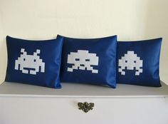 Space Invaders Set of 3 Novelty Throw Pillows.  Blue and White Decor Cushion. 100% upcycled. $60.00 USD, via Etsy.