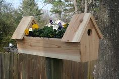 Cedar Double Bird House Planter: I had some left over cedar form a job so here's what I did with it a double bird house and planter.Easy to build I used a compound miter saw and a table saw but a hand saw on the cedar would cut fine. Bird House Plans, Bird House Kits, Birdhouse Designs, Birdhouse Ideas, Birdhouse Craft, Traditional Birdhouses, Garden Web, Garden Design, Bird Houses Diy