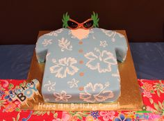 Hawaiian shirt cake at a Luau!  See more party ideas at CatchMyParty.com!