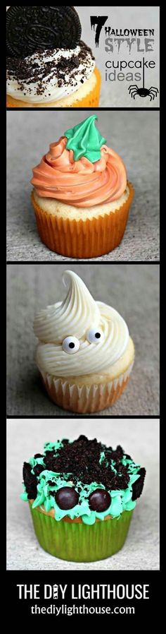 Halloween Cupcakes. Easily create pumpkin, ghost, and/or Frankenstein's Monster cupcakes .. just with creative use of frosting, googly eyes, and/or crushed Oreo cookies.