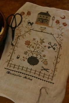 17th & 18th Century Needlework: A New Sampler almost finished. Stacy Nash Primitive Designs