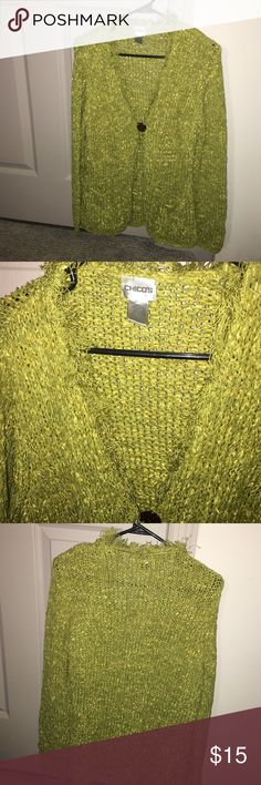 Chico's cardigan Lime green with fringed collar, Chico's sweater. Size 2. Chico's Sweaters Cardigans