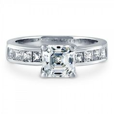 Bridal & Wedding Party Jewelry Superb Round And Baguette Stones Solitaire Ring With Pave Setting Rhodium Plated
